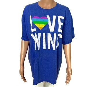 Tops - Love Wins Pride Rainbow Blue Short Sleeve T-shirt